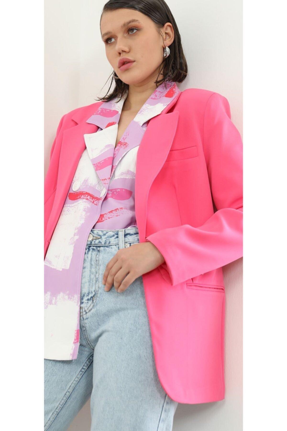 The Ness Collection Fuşya Boyfriend Blazer Ceket 1