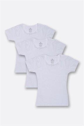 BAYKAR Beyaz Kız Çocuk Düz Fanila 3'lü Set 4644
