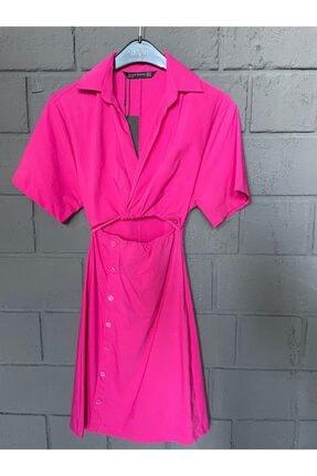 Dilvin Pencere Detay Gömlek Elbise