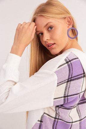 Fulla Moda Ekose Desenli Kapüşonlu Sweatshirt