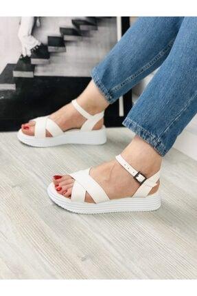 ENOLA Kadın Çapraz Bantlı Beyaz Sandalet