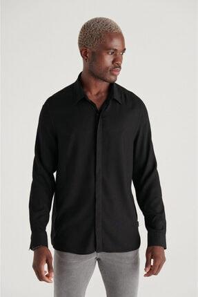 Avva Erkek Siyah Düz Klasik Yaka Leisure Fit Gömlek A11y2199
