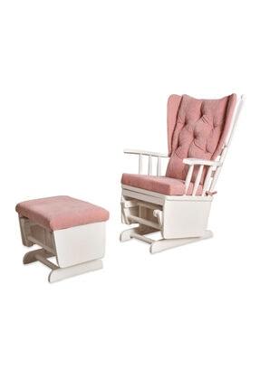 Asedia Mama Beyaz Pembe Puflu Sallanan Sandalye