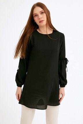 Fulla Moda Kadın Siyah Balon Kol Tunik