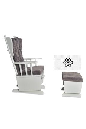Asedia Mama Beyaz Antrasit Puflu Sallanan Sandalye