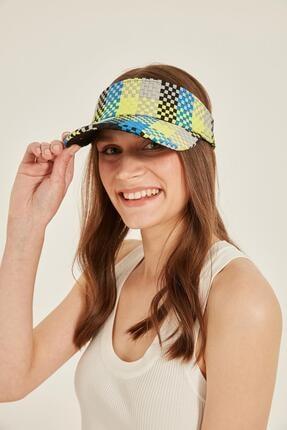 Y-London 14076 Uv Koruyuculu Damalı Neon Yeşil Hasır Vizör Şapka