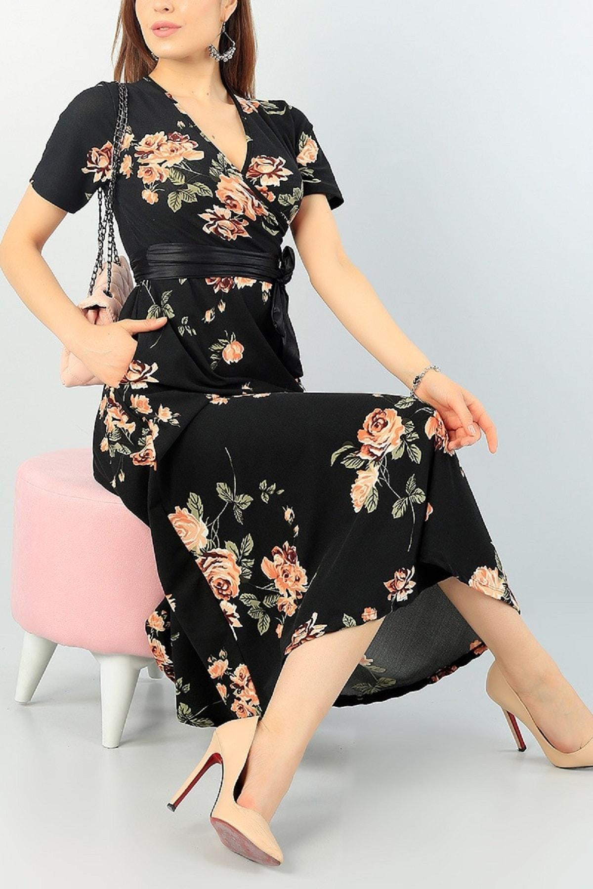 Butik Şımarık Kadın Büyük Beden Çiçek Baskılı Kruvaze Yaka Krep Kumaş Elbise Boy 120cm Kemer Dahil 1
