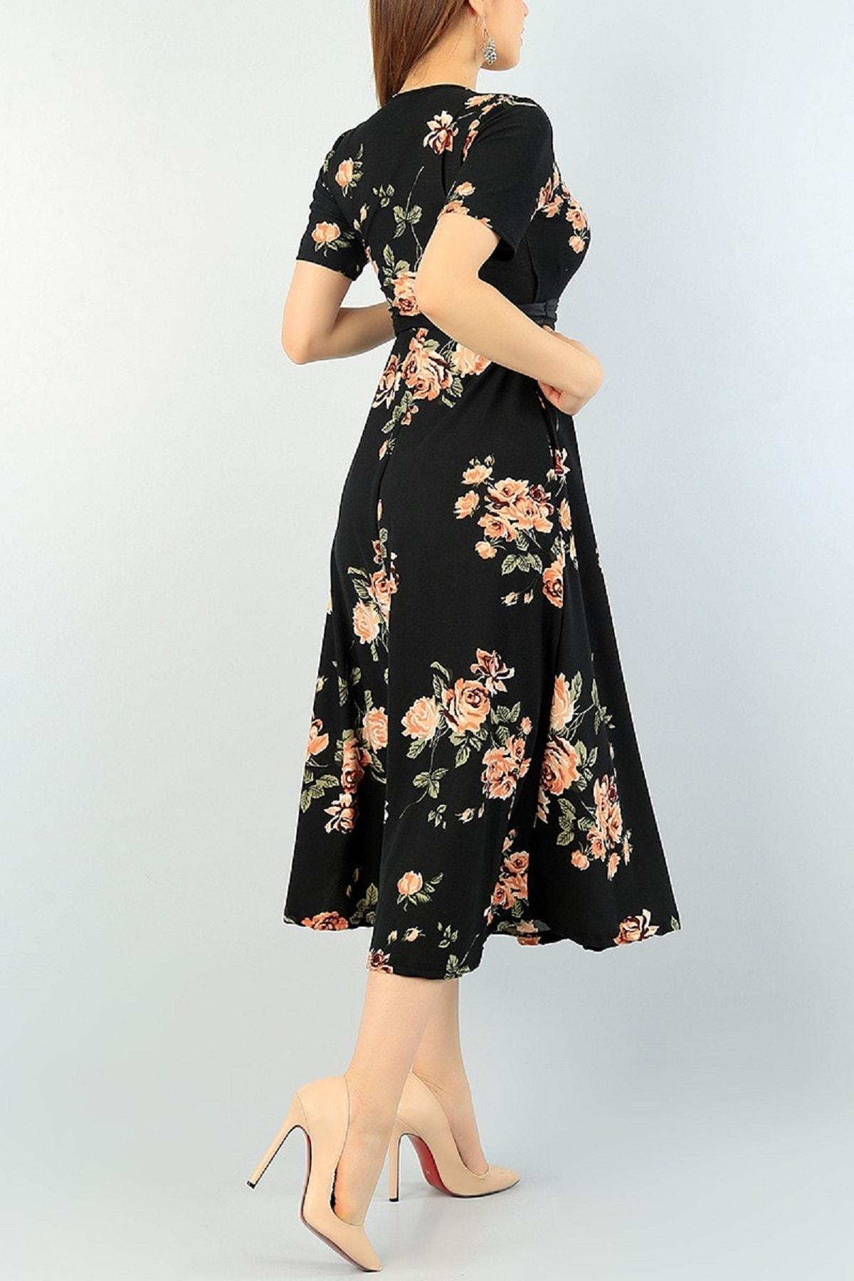 Butik Şımarık Kadın Büyük Beden Çiçek Baskılı Kruvaze Yaka Krep Kumaş Elbise Boy 120cm Kemer Dahil 2