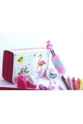 Cappi Flamingo Içi Dolu Üç Bölmeli Kalem Kutusu (KALEMLİK)