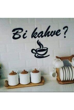 Miana Lazer El Yazısı Bi Kahve? Ahşap Kahve Mutfak Süsü Dekoratif Duvar Yazıları Tezgah Üstü Yazılar