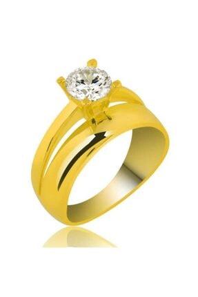 Gumush Kadın Sarı 925 Ayar Gümüş Tek Taş Yüzük