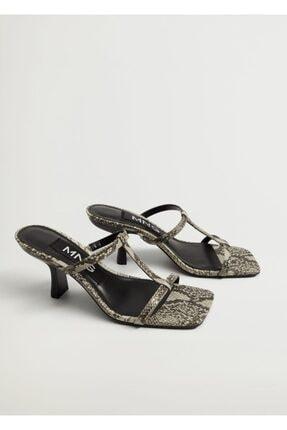 MANGO Woman Yılan Derisi Görünümlü Bantlı Sandalet
