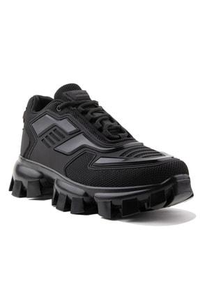AIRTRACK Erkek Siyah Yüksek Tabanlı Sneaker Kalın Taban Günlük Ayakkabı