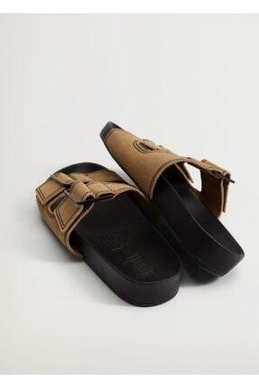 MANGO Woman Kadın  Kahverengi Deri Bantlı Sandalet
