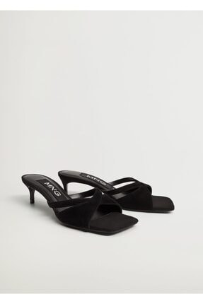 MANGO Woman Bantlı Deri Topuklu Sandalet