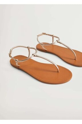 MANGO Woman Deri Bantlı Sandalet