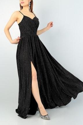 Md1 Collection Işıltılı Kumaş Göğüs Dekolteli Yırtmaç Detaylı Uzun Siyah Abiye Elbise
