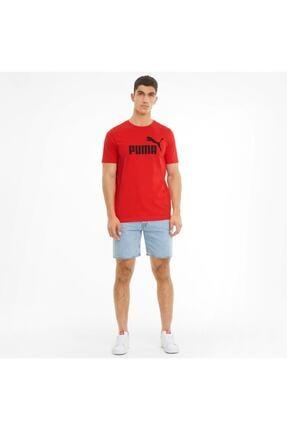 Puma Ess Logo Tee Erkek T-shirt Hıgh Rısk Red 586666-11