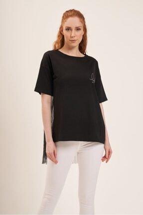 Batik Arka Beden Piliseli Siyah T-shirt