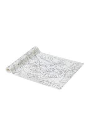 Rosso Levanto Jattelık Rulo Boyama Kağıdı Dinazor Desenli Beyaz 10 Metre