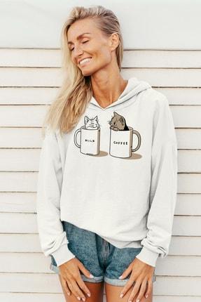 Rock & Roll Kadın Beyaz Sütlü Sade Kapüşonlu Sweatshirt