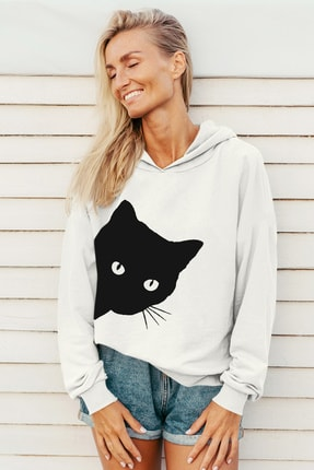 Rock & Roll Kadın Beyaz Meraklı Kapüşonlu Sweatshirt