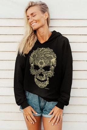 Rock & Roll Kadın Siyah Dövme Kurukafa Kapüşonlu Sweatshirt