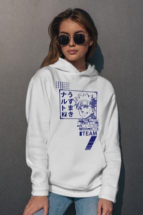 Rock & Roll Kadın Beyaz Naruto Yazılar Kapüşonlu Sweatshirt