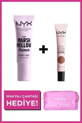 NYX Professional Makeup Bakım Yapan Makyaj Seti Marshmellow Primer + Bare With Me Luminious Cheek Serum +Makyaj Çantası