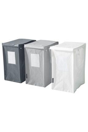 IKEA Dımpa Çamaşır Sepeti Üçlü Set, Beyaz-koyu Gri-açık Gri