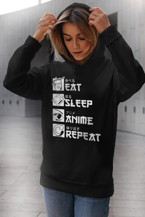 Rock & Roll Kadın Siyah Hep Anime Kapüşonlu Sweatshirt