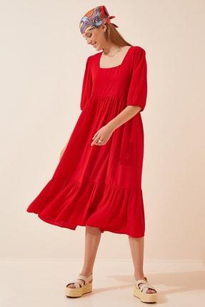 Happiness İst. Kadın Kırmızı Kare Yaka Uzun Elbise DD00908