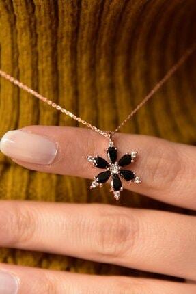 LOTUS GÜMÜŞ Kamelya Çiçeği Siyah Taşlı 14 K Rose Altın Kaplama Kadın Kolye