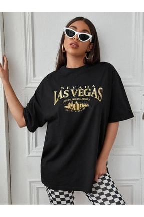 Millionaire Kadın Siyah Neveda Las Vegas Oversize Baskılı T-shirt