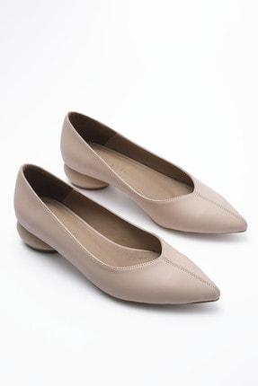 Marjin Kadın Bej Günlük Klasik Topuklu Ayakkabı Evara