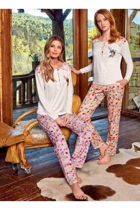 Berrak Kadın Pijama Takımı Önden Düğmeli Somon Beyaz