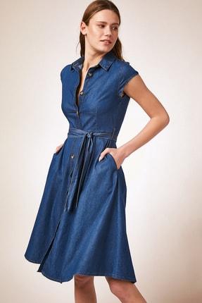 Happiness İst. Kadın Mavi Kısa Kollu Kuşak Kemerli Jean Elbise  DD00835