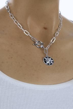 Marjin Kadın Gümüş Renk Zincirli Yıldız Madalyon KolyeGümüş