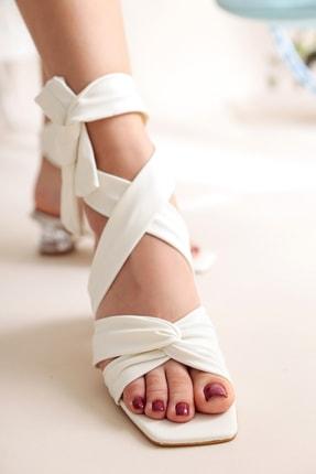 Limoya Deirdre Beyaz Bilekten Bağlamalı Şeffaf Topuklu Sandalet