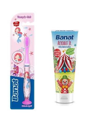 Banat Junior Pretty Vakumlu Ayak Çocuk Diş Fırçası + Florürsüz Ve Parabensiz Çocuk Diş Macunu 35 ml