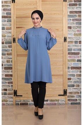 ZÜLEYHA NUR Kadın Boncuk Detaylı Mavi Zarif Tunik Elbise