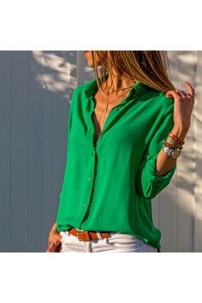 rengamoda Dokuma Viskon Kumaş Efsane Basic Gömlek Yeşil 62 Arka Orta Kısım 70 Cm