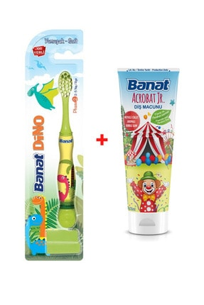 Banat Dino 2+ Yaş Çocuk Diş Fırçası + Florürsüz Ve Parabensiz Çocuk Diş Macunu (35 ml)