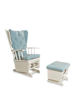 Asedia Mama Puflu Lake Beyaz Mavi Sallanan Sandalye
