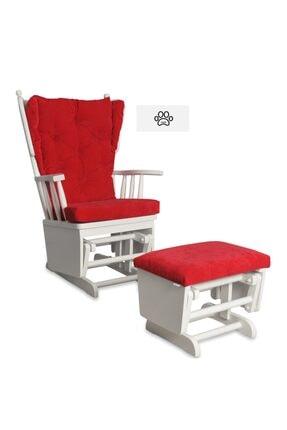 Asedia Mama Puflu Lake Beyaz Kırmızı Sallanan Sandalye