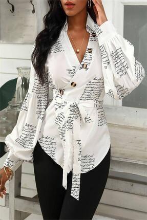 ModaDeniz Kuşak Detay Kruvaze Yaka Yazı Baskılı Balon Kollu Gömlek