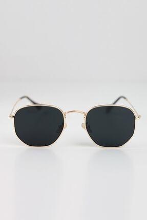 Curly Accessories Unisex Gold Beşgen Altın Vintage Güneş Gözlüğü