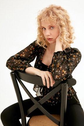 Fulla Moda Kadın Çiçek Desenli Kruvaze Yaka Şifon Bluz