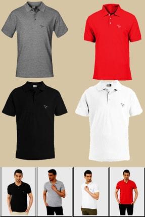next giyim Erkek 4 Adet Yakalı Düz Renk Tişört Kırmızı - Beyaz - Siyah - Gri