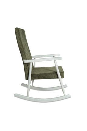 Asedia Trend Beyaz Yeşil Sallanan Sandalye